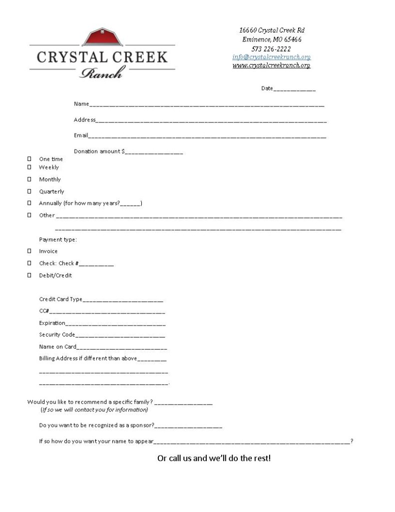 donate sponsor blank form